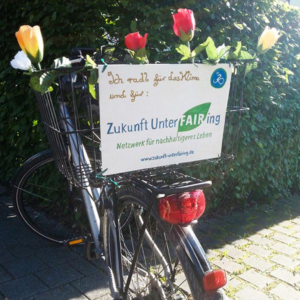 Klima radeln Fahrradkorb Metall Zukunft UnterFAIRing