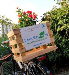 Klima radeln Fahrradkorb Holz Zukunft UnterFAIRing